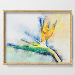 Bird Of Paradise Watercolor Art Serving Tray