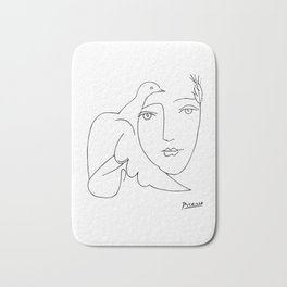 Pablo Picasso Peace (Dove and Face) T Shirt, Sketch Artwork Bath Mat