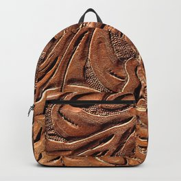 Vintage Worn Tooled Leather Backpack