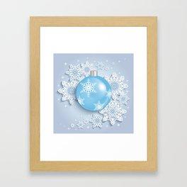 Christmas ball with snowflakes Framed Art Print