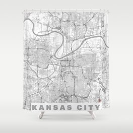 Kansas City Map Line Shower Curtain