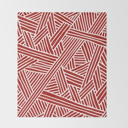 Abstract Navy Red & White Lines and Triangles Pattern Throw Blanket