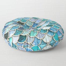 Multicolor Aqua Mermaid Scales - Beautiful Abstract Glitter Pattern Floor Pillow