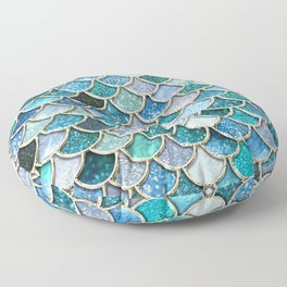 Multicolor Aqua Mermaid Scales - Beautiful Abstract Glitter Pattern Floor Pillow