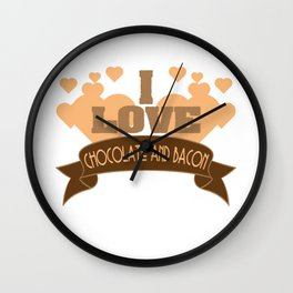 """Best combination ever in one tee! Grab this fabulous """"Chocolate and Bacon Lover"""" tee now!  Wall Clock"""