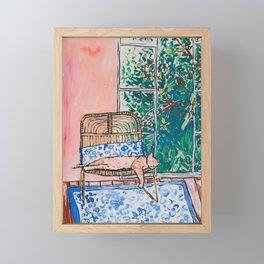 Napping Ginger Cat in Pink Jungle Garden Room Framed Mini Art Print