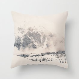 White Winter Mountains In Snow Throw Pillow