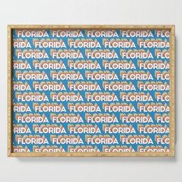 Florida, USA Trendy Rainbow Text Pattern (Blue) Serving Tray