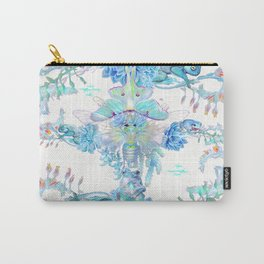 Aqua Chalcedony Luna Moth Succulent Floral Carry-All Pouch