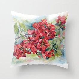 Watercolor Apple quince bloom Throw Pillow