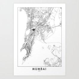 Mumbai White Map Art Print