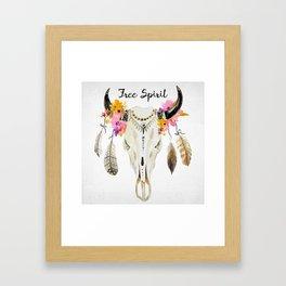 free spirit- tribal skull Framed Art Print