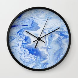 Wintry Fairy Land: Acrylic Pour Painting Wall Clock