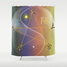 Feng Shui five elements Multi Colored Shower Curtain