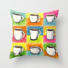 I drew you 9 little mugs of coffee Throw Pillow