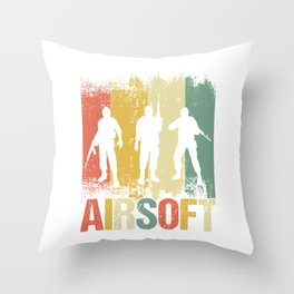 Gunner Air Soft Fighter Shooting Games Team Gift Retro Vintage Airsoft Guns Throw Pillow