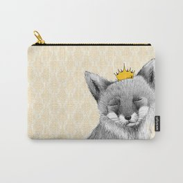 fox monochromatic black and white Carry-All Pouch