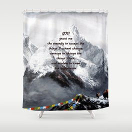 Serenity Prayer With Panoramic View Of Everest Mountain Shower Curtain
