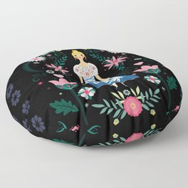 Folk Art Forest Fairy Tale Fraulein Floor Pillow