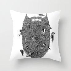 Bird Beard Throw Pillow