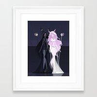 umbreon Framed Art Prints featuring Umbreon and Espeon by LittlePaperForest