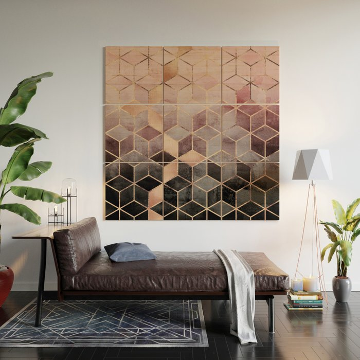 Pink And Grey Gradient Cubes Wood Wall Art By Elisabethfredriksson