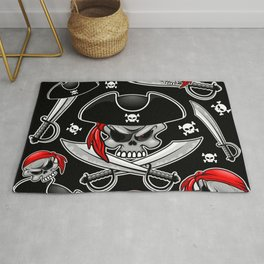 Skull Pirate Captain with Crossed Sabers Rug