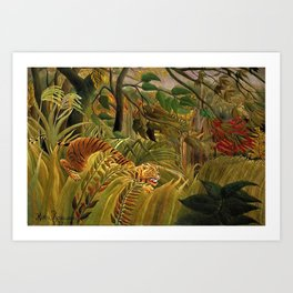 Tiger in a Tropical Storm - Surprised! by Henri Rousseau Art Print