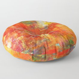 AUTUMN HARVEST - Fall Colorful Abstract Textural Painting Warm Red Orange Yellow Green Thanksgiving Floor Pillow