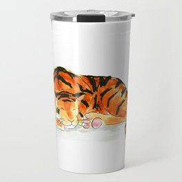 Sleeping tiger watercolor Travel Mug