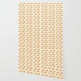 Red Fox & Hearts Pattern Wallpaper