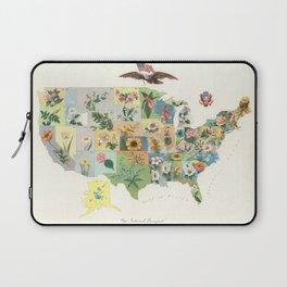 Vintage US State Flower Map (1911) Laptop Sleeve