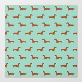 Red Dachshund Chocolate Tan Sausage Dog on Mint Green Background Dog Pattern for Dog Lover Canvas Print