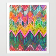 Tribal Chevron - Yellow Art Print