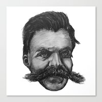 nietzsche Canvas Prints featuring Super Mustache by Zach Wheeler