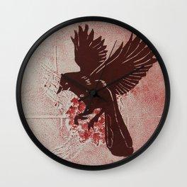 Red Bird Red Flower Wall Clock