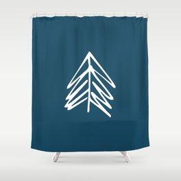 Pacific Northwest Evergreen   In Indigo Shower Curtain