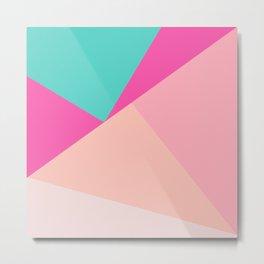 Pastel pink turquoise modern geometric color block pattern Metal Print