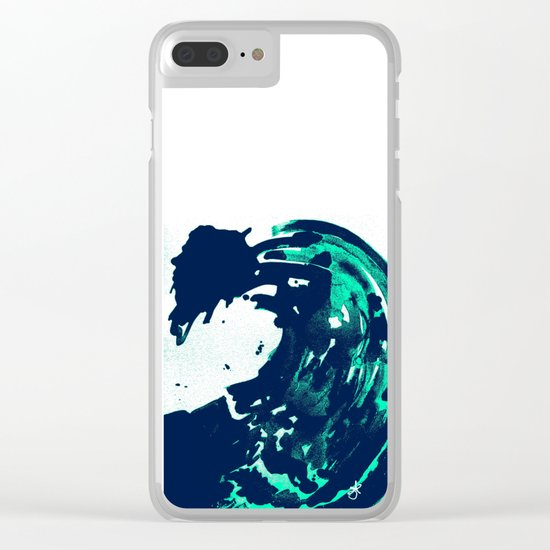 Navy Blue, Black, Blue, Bold Green Wave Clear iPhone Case