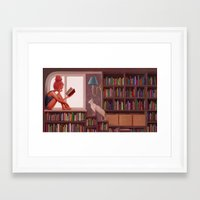 bookworm Framed Art Prints featuring Bookworm by Joifish