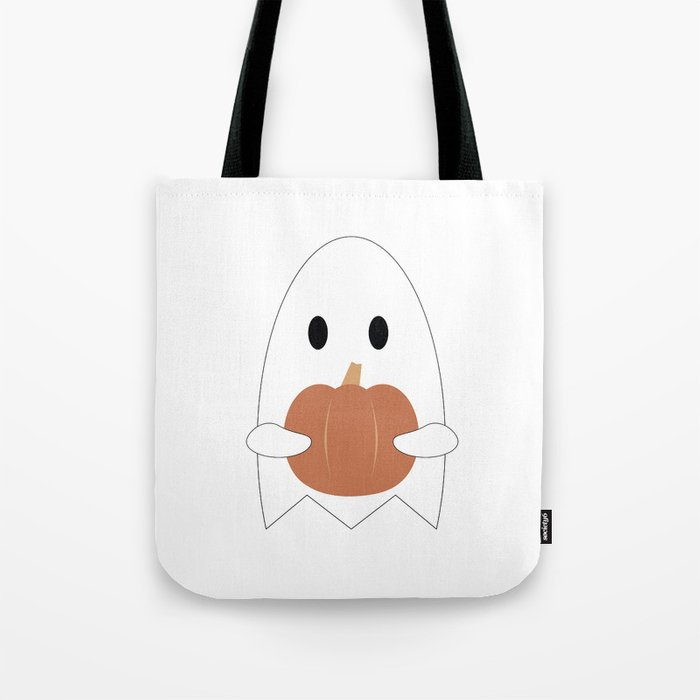Ghost with Pumpkin Tote Bag