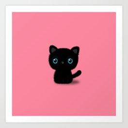 Sweet Black kitten on pastel pink Art Print