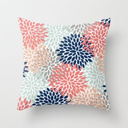 Floral Bloom Print, Living Coral, Pale Aqua Blue, Gray, Navy Throw Pillow