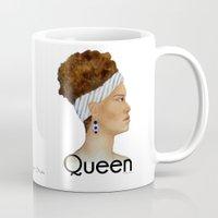 queen Mugs featuring Queen by Nina Bryant Studio