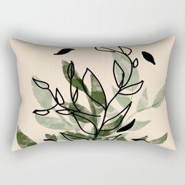 Green and black leaves Rectangular Pillow