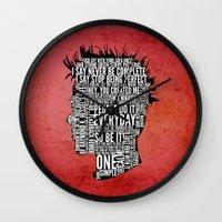 tyler durden Wall Clocks featuring Typography Tyler Durden Uncensored by Adam Grey