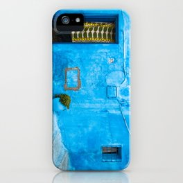 Moroccan House with Blue Wall and Green Curtain. iPhone Case