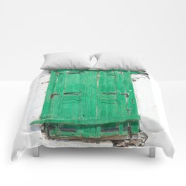 The Old Green Window on Milos Comforters
