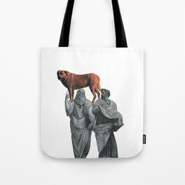 plato n aristotle walking their doge Tote Bag
