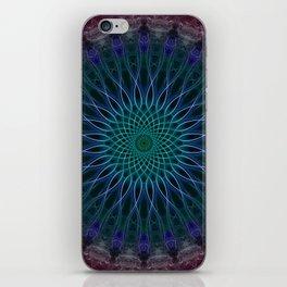 Pretty glowing blue mandala iPhone Skin